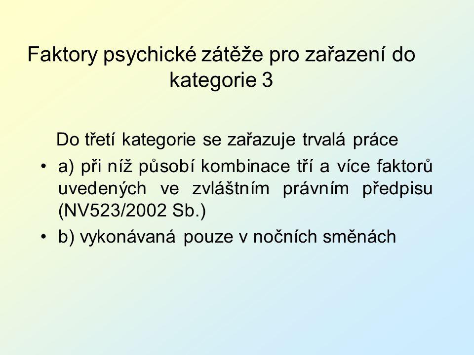 Faktory psychické zátěže pro zařazení do kategorie 3 Do třetí kategorie se zařazuje trvalá práce a) při níž působí kombinace tří a více faktorů uveden