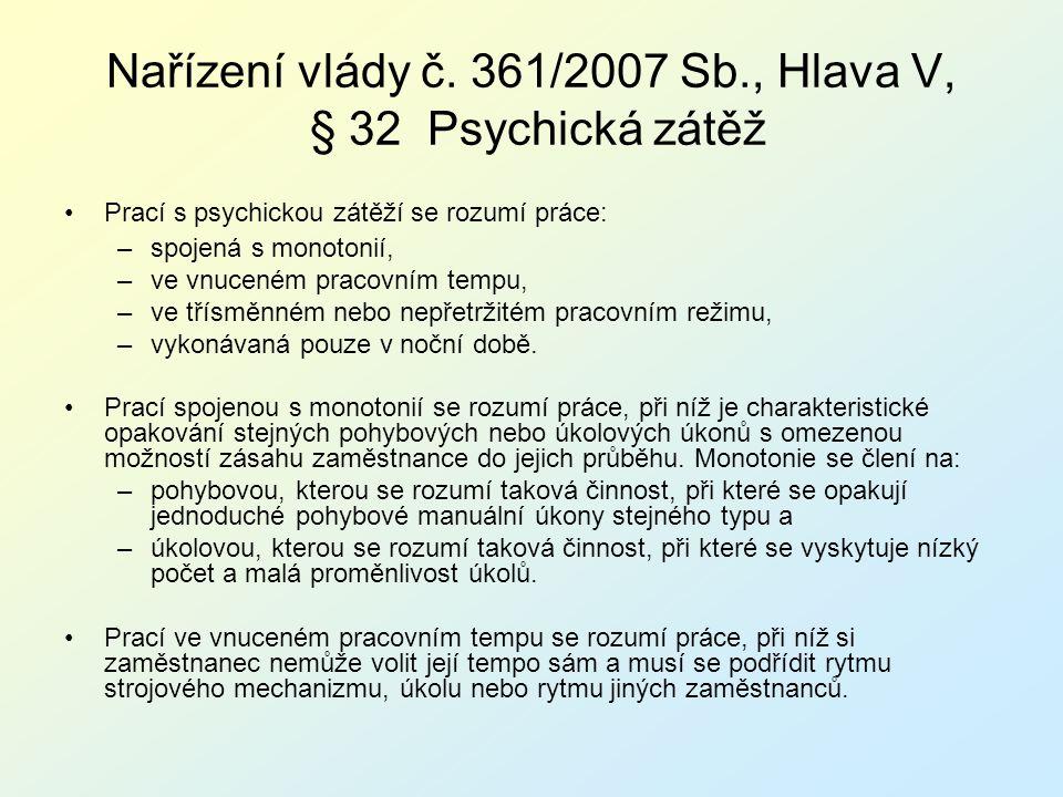 Nařízení vlády č. 361/2007 Sb., Hlava V, § 32 Psychická zátěž Prací s psychickou zátěží se rozumí práce: –spojená s monotonií, –ve vnuceném pracovním