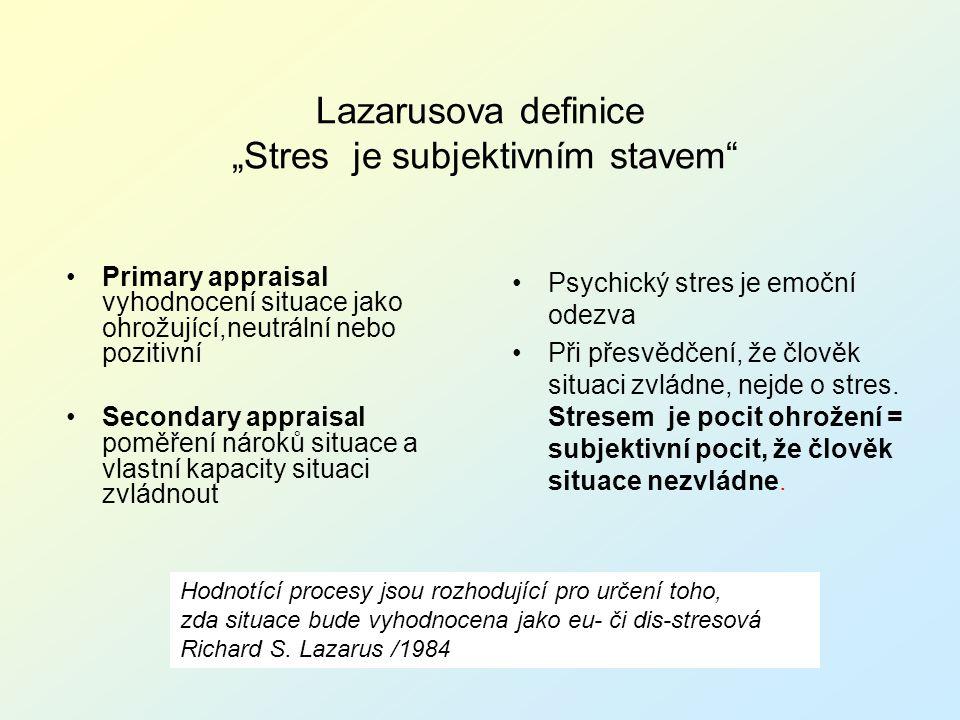"""Lazarusova definice """"Stres je subjektivním stavem"""" Primary appraisal vyhodnocení situace jako ohrožující,neutrální nebo pozitivní Secondary appraisal"""