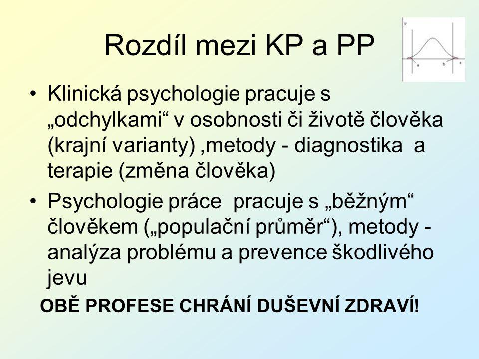 """Rozdíl mezi KP a PP Klinická psychologie pracuje s """"odchylkami"""" v osobnosti či životě člověka (krajní varianty),metody - diagnostika a terapie (změna"""