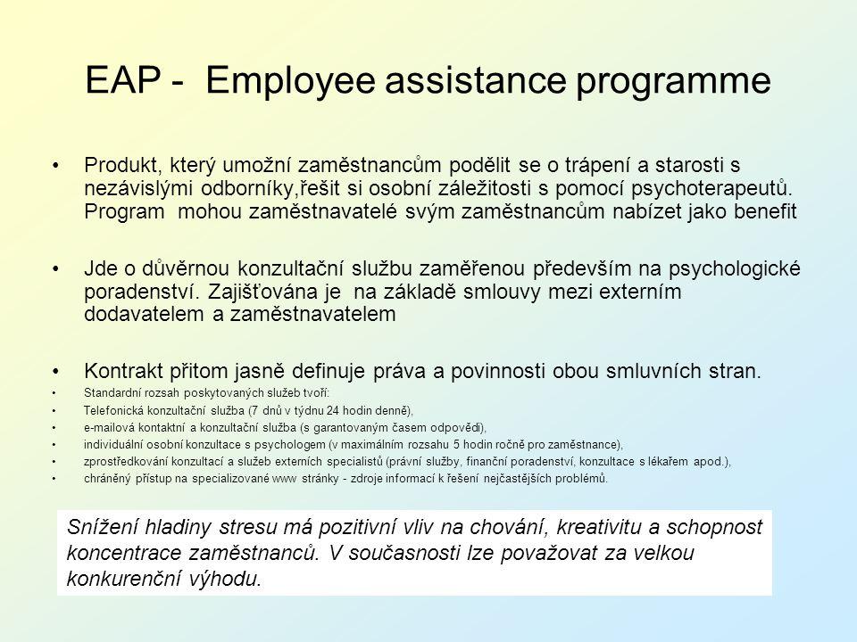 EAP - Employee assistance programme Produkt, který umožní zaměstnancům podělit se o trápení a starosti s nezávislými odborníky,řešit si osobní záležit