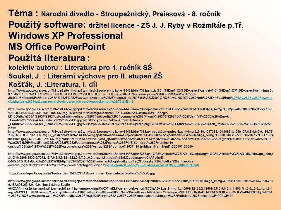 Téma : Národní divadlo - Stroupežnický, Preissová - 8.