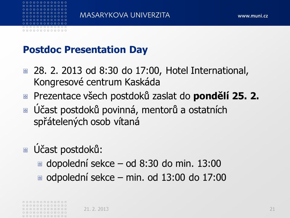 Postdoc Presentation Day 28.2.
