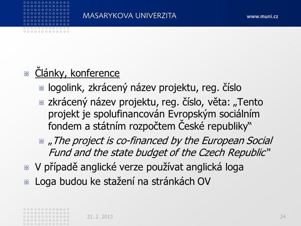 Články, konference logolink, zkrácený název projektu, reg.