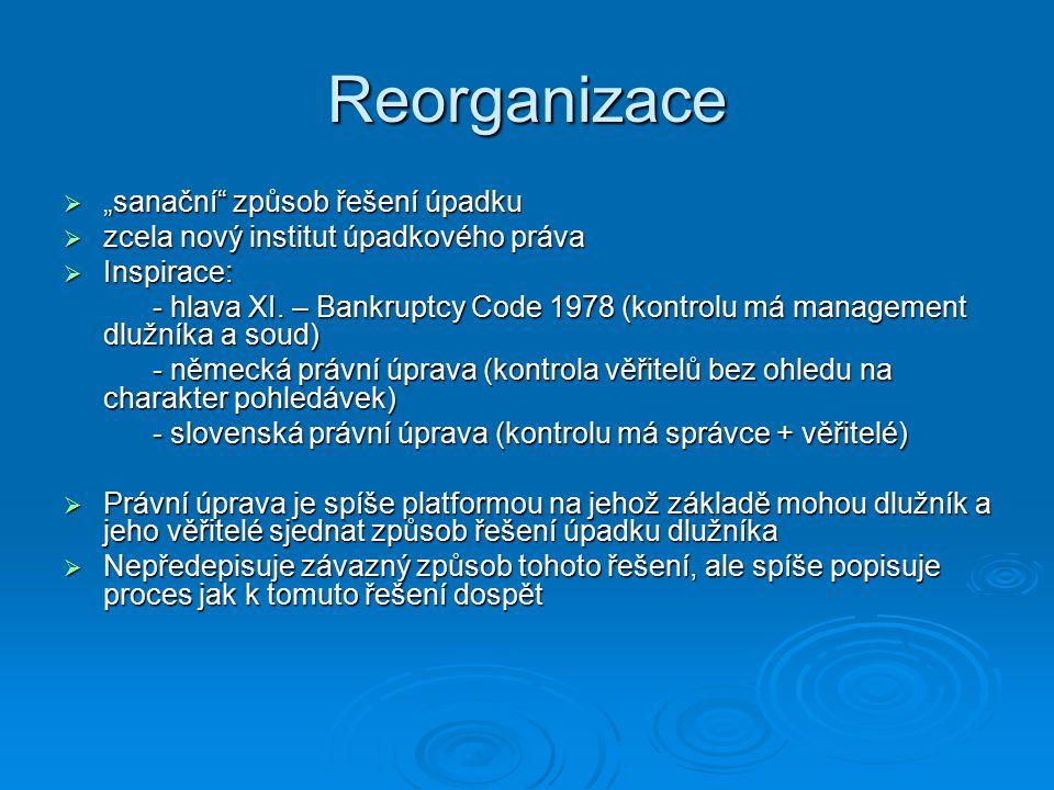 Pojem reorganizace § 316 odst.