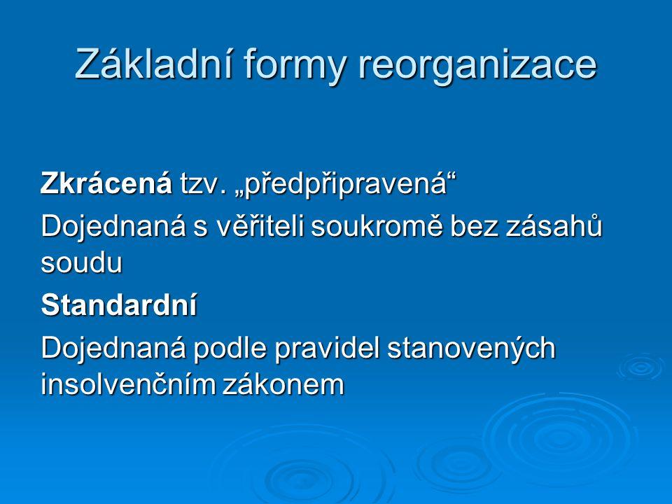 Schéma standardní reorganizace Insolvenční návrh a návrh na povolení reorganizace Rozhodnutí o úpadku a povolení reorganizace Vyjednání a schválení reorganizačního plánu Schválení reorganizačního plánu soudem