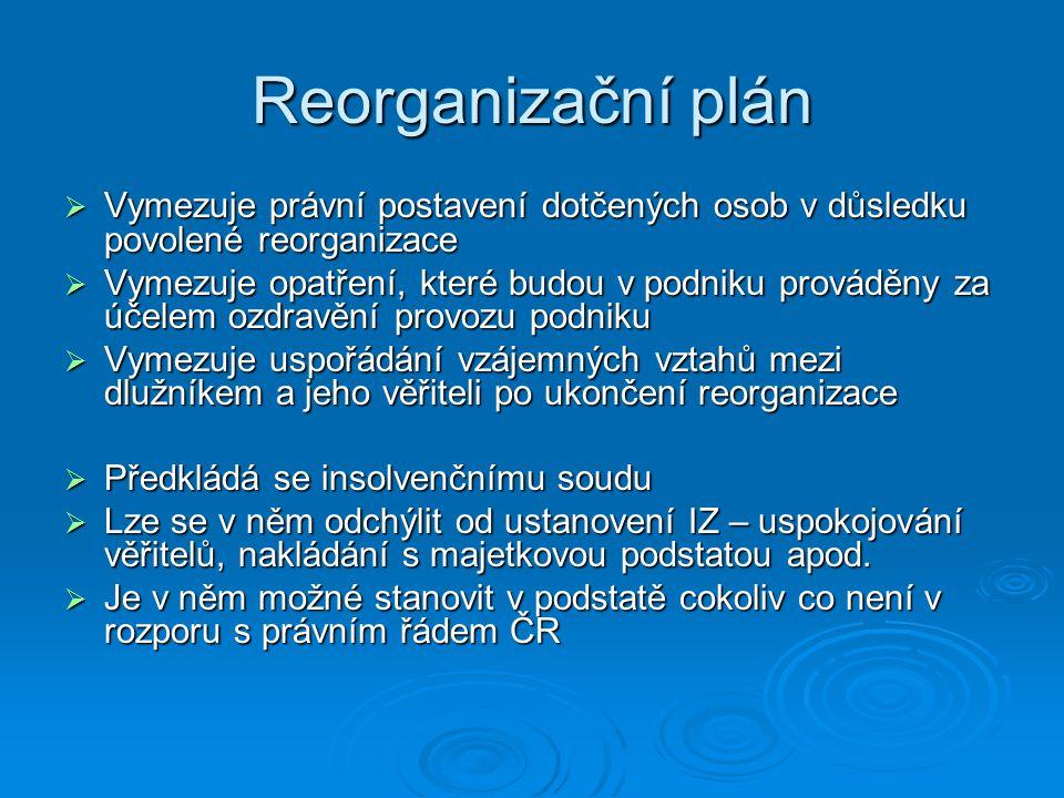 Reorganizační plán  Vymezuje právní postavení dotčených osob v důsledku povolené reorganizace  Vymezuje opatření, které budou v podniku prováděny za účelem ozdravění provozu podniku  Vymezuje uspořádání vzájemných vztahů mezi dlužníkem a jeho věřiteli po ukončení reorganizace  Předkládá se insolvenčnímu soudu  Lze se v něm odchýlit od ustanovení IZ – uspokojování věřitelů, nakládání s majetkovou podstatou apod.