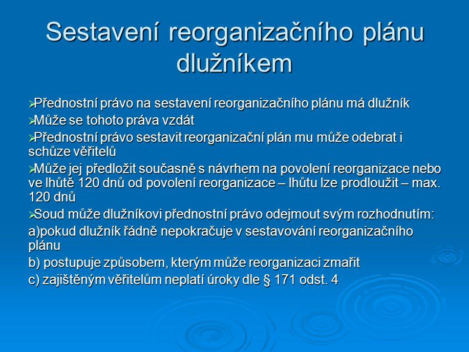 Sestavení reorganizačního plánu dlužníkem  Přednostní právo na sestavení reorganizačního plánu má dlužník  Může se tohoto práva vzdát  Přednostní právo sestavit reorganizační plán mu může odebrat i schůze věřitelů  Může jej předložit současně s návrhem na povolení reorganizace nebo ve lhůtě 120 dnů od povolení reorganizace – lhůtu lze prodloužit – max.