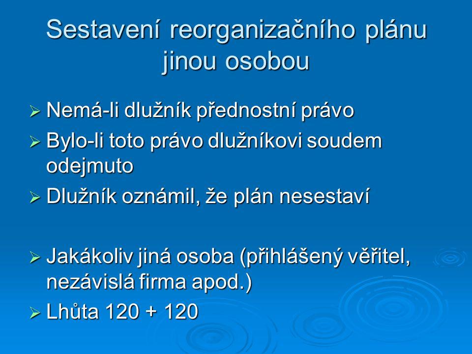 Sestavení reorganizačního plánu jinou osobou  Nemá-li dlužník přednostní právo  Bylo-li toto právo dlužníkovi soudem odejmuto  Dlužník oznámil, že plán nesestaví  Jakákoliv jiná osoba (přihlášený věřitel, nezávislá firma apod.)  Lhůta 120 + 120