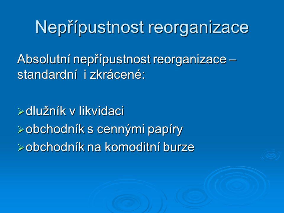 Odstranění vad návrhu na povolení reorganizace  !!.
