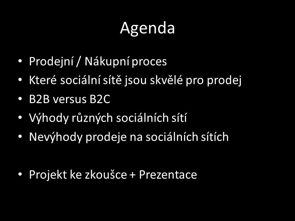 Agenda Prodejní / Nákupní proces Které sociální sítě jsou skvělé pro prodej B2B versus B2C Výhody různých sociálních sítí Nevýhody prodeje na sociálních sítích Projekt ke zkoušce + Prezentace