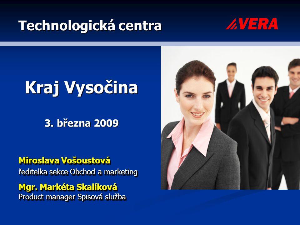 Technologická centra Kraj Vysočina 3. března 2009 Miroslava Vošoustová ředitelka sekce Obchod a marketing Mgr. Markéta Skalíková Product manager Spiso