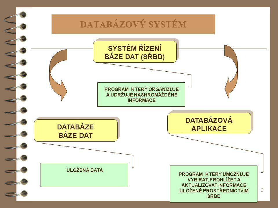 2 DATABÁZOVÝ SYSTÉM SYSTÉM ŘÍZENÍ BÁZE DAT (SŘBD) PROGRAM KTERÝ ORGANIZUJE A UDRŽUJE NASHROMÁŽDĚNÉ INFORMACE DATABÁZOVÁ APLIKACE PROGRAM KTERÝ UMOŽŇUJE VYBÍRAT, PROHLÍŽET A AKTUALIZOVAT INFORMACE ULOŽENÉ PROSTŘEDNICTVÍM SŘBD DATABÁZE BÁZE DAT ULOŽENÁ DATA