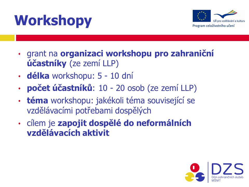 Workshopy grant na organizaci workshopu pro zahraniční účastníky (ze zemí LLP) délka workshopu: 5 - 10 dní počet účastníků: 10 - 20 osob (ze zemí LLP) téma workshopu: jakékoli téma související se vzdělávacími potřebami dospělých cílem je zapojit dospělé do neformálních vzdělávacích aktivit