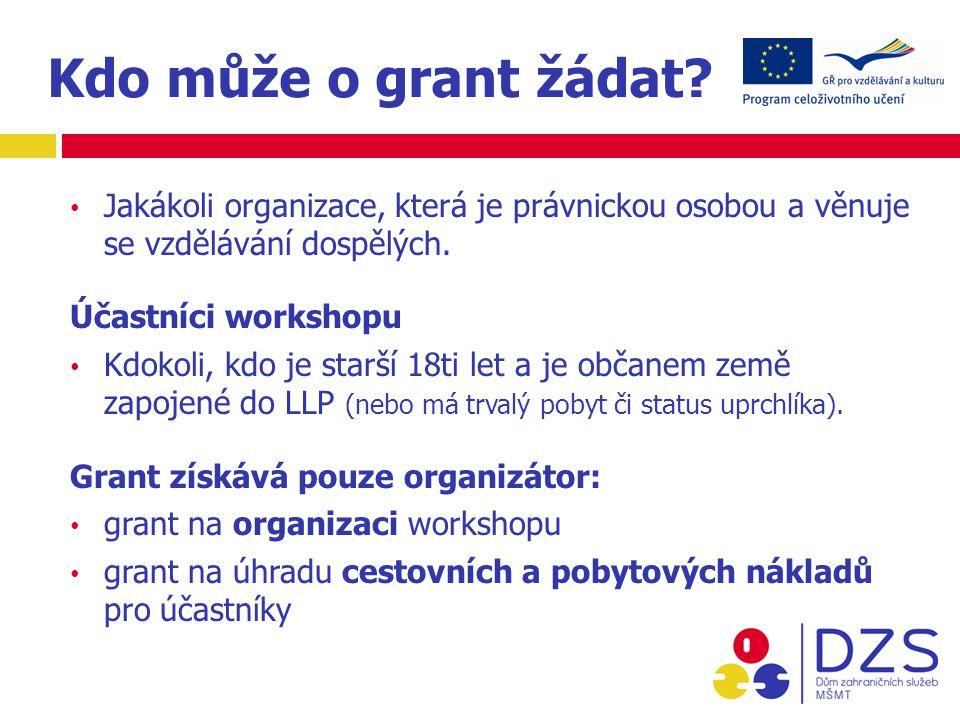 Schvalování Workshopů organizátor workshopu podá v lednu/únoru žádost Národní agentura provede výběrové řízení EK vytvoří centrální databázi schválených workshopů (květen-červen)  publikace i na www.naep.cz zájemci o workshop posílají svou přihlášku přímo organizátorovi workshop s nedostatkem účastníků (min.