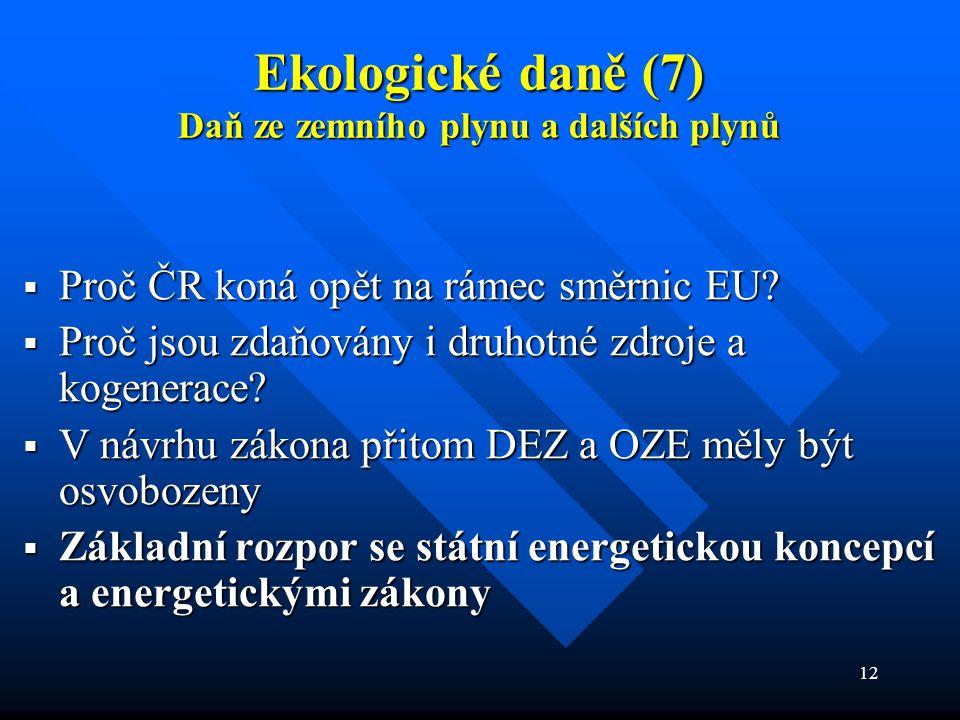 12 Ekologické daně (7) Daň ze zemního plynu a dalších plynů  Proč ČR koná opět na rámec směrnic EU.