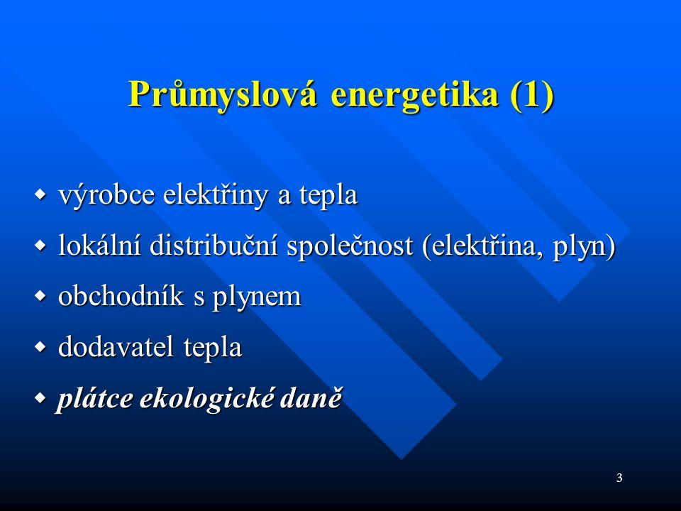 3 Průmyslová energetika (1)  výrobce elektřiny a tepla  lokální distribuční společnost (elektřina, plyn)  obchodník s plynem  dodavatel tepla  plátce ekologické daně