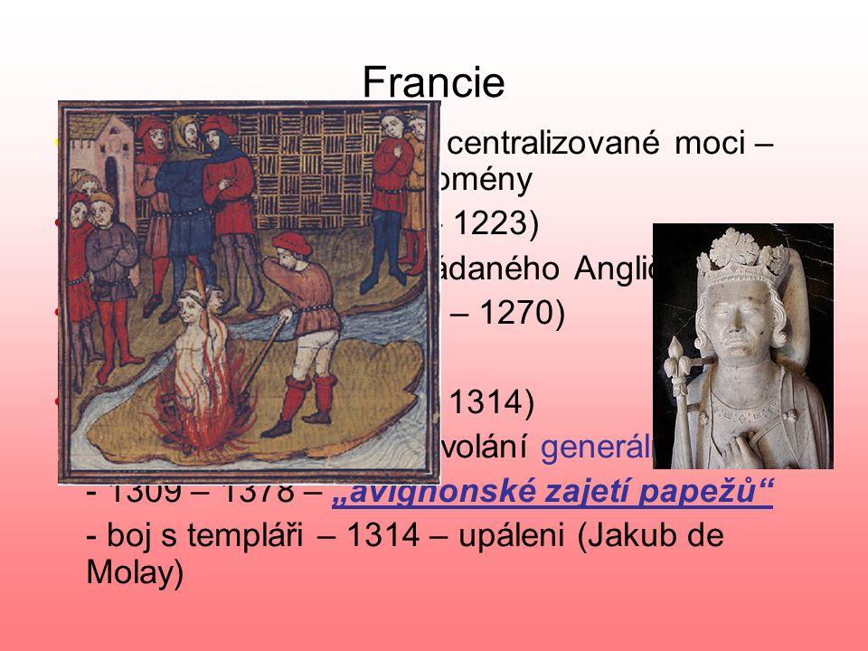 Francie KapetovciKapetovci – posilování centralizované moci – rozšiřování královské domény Filip II.