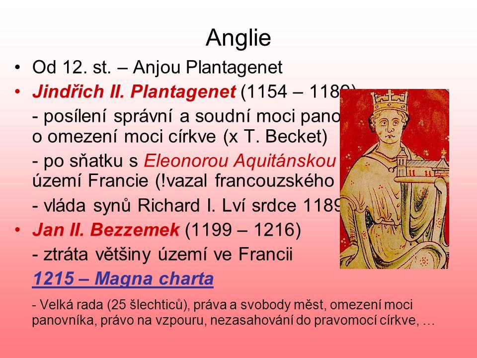 Francie KapetovciKapetovci – posilování centralizované moci – rozšiřování královské domény Filip II. August (1180 – 1223) - zisk většiny území ovládan