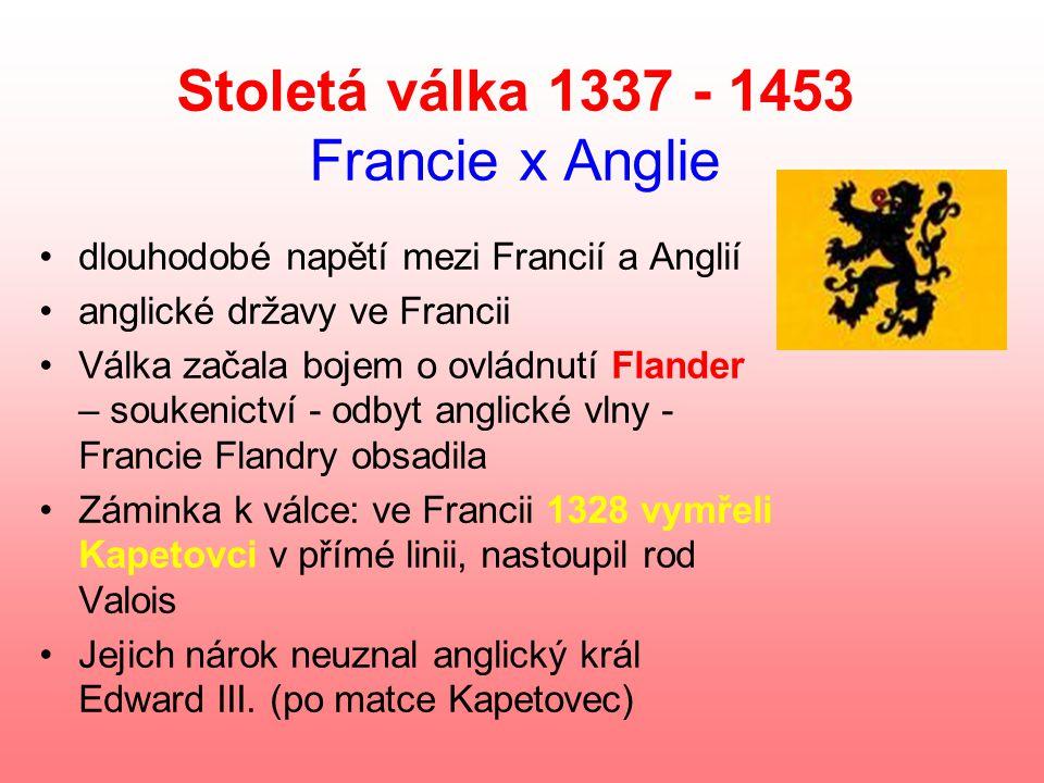 Stoletá válka 1337 - 1453 Francie x Anglie dlouhodobé napětí mezi Francií a Anglií anglické državy ve Francii Válka začala bojem o ovládnutí Flander – soukenictví - odbyt anglické vlny - Francie Flandry obsadila Záminka k válce: ve Francii 1328 vymřeli Kapetovci v přímé linii, nastoupil rod Valois Jejich nárok neuznal anglický král Edward III.