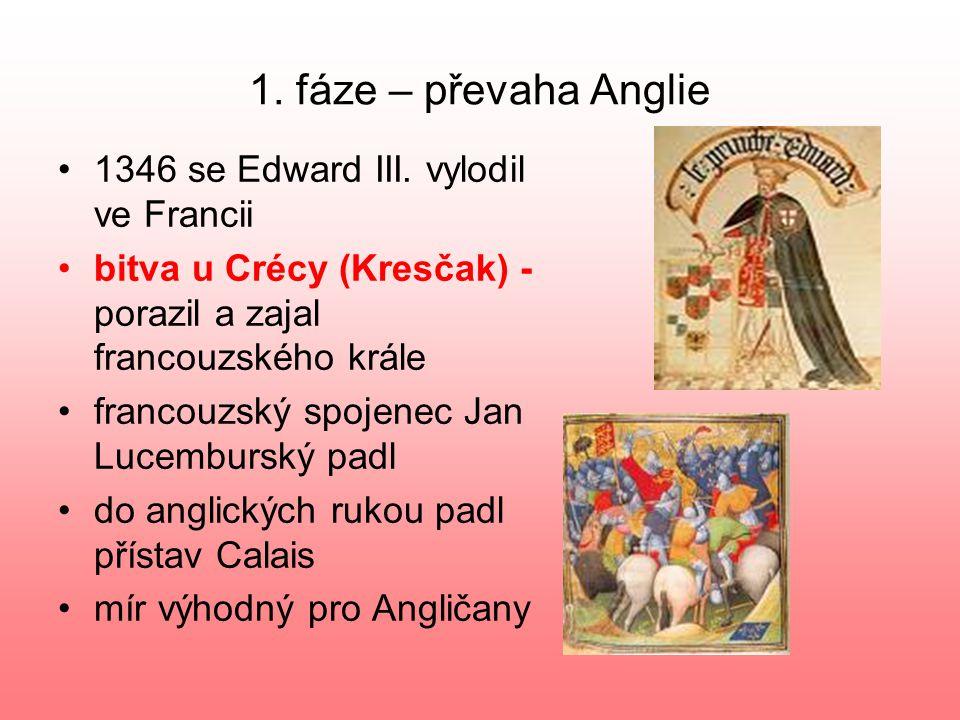 1.fáze – převaha Anglie 1346 se Edward III.