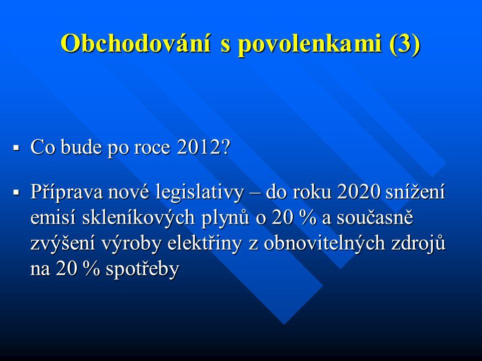 Obchodování s povolenkami (3)  Co bude po roce 2012?  Příprava nové legislativy – do roku 2020 snížení emisí skleníkových plynů o 20 % a současně zv