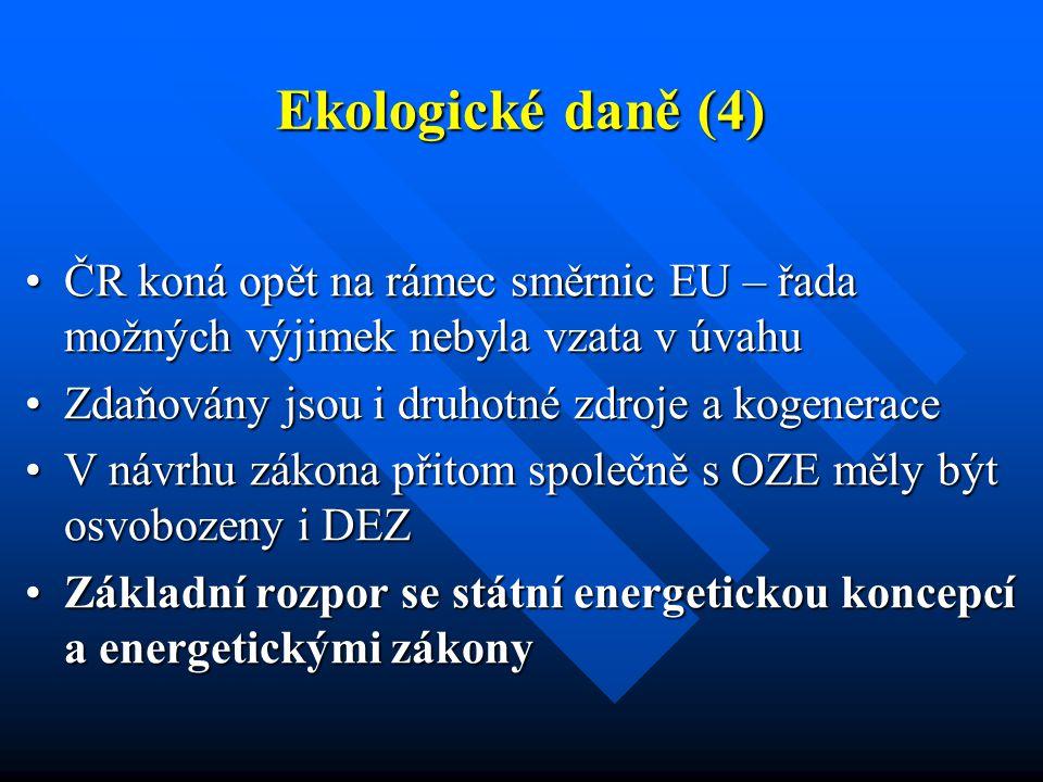 Ekologické daně (4) ČR koná opět na rámec směrnic EU – řada možných výjimek nebyla vzata v úvahuČR koná opět na rámec směrnic EU – řada možných výjime