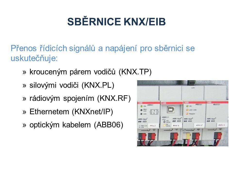 SBĚRNICE KNX/EIB Přenos řídicích signálů a napájení pro sběrnici se uskutečňuje: »krouceným párem vodičů (KNX.TP) »silovými vodiči (KNX.PL) »rádiovým spojením (KNX.RF) »Ethernetem (KNXnet/IP) »optickým kabelem (ABB06)