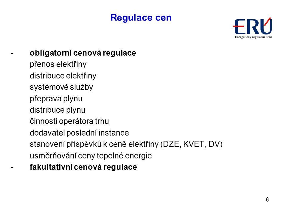 6 -obligatorní cenová regulace přenos elektřiny distribuce elektřiny systémové služby přeprava plynu distribuce plynu činnosti operátora trhu dodavate