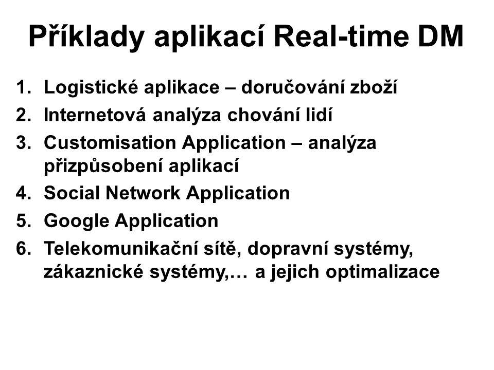 Příklady aplikací Real-time DM 1.Logistické aplikace – doručování zboží 2.Internetová analýza chování lidí 3.Customisation Application – analýza přizpůsobení aplikací 4.Social Network Application 5.Google Application 6.Telekomunikační sítě, dopravní systémy, zákaznické systémy,… a jejich optimalizace