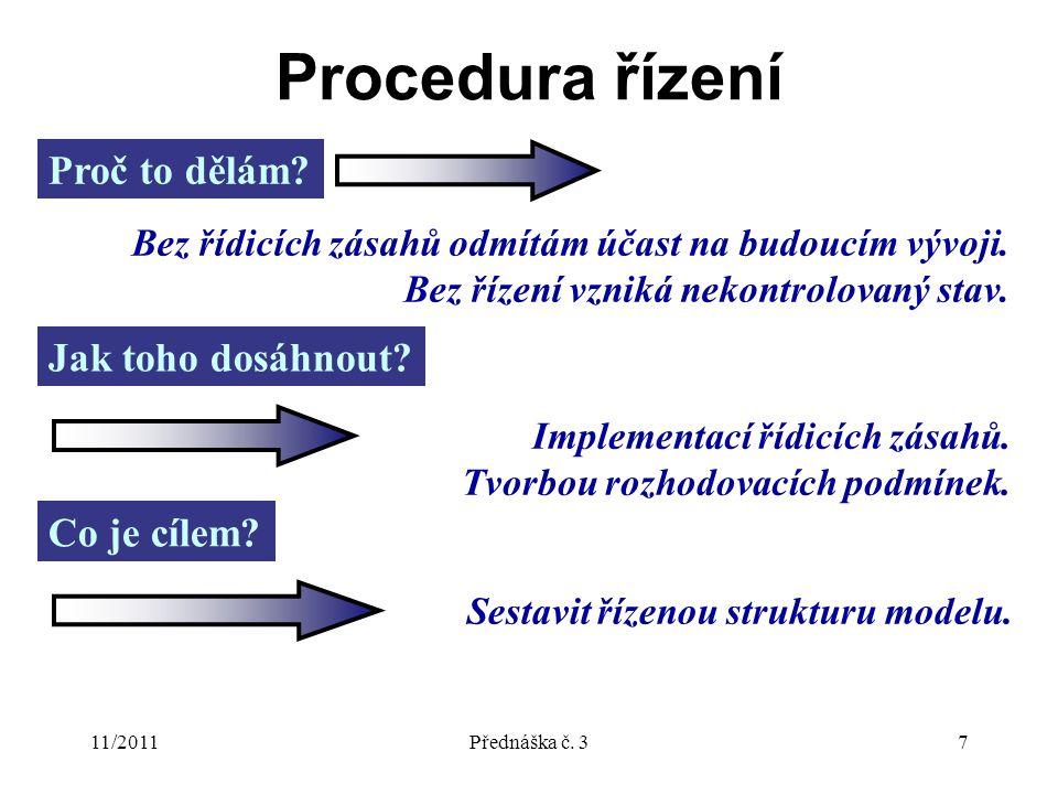 11/2011Přednáška č. 37 Procedura řízení Proč to dělám.