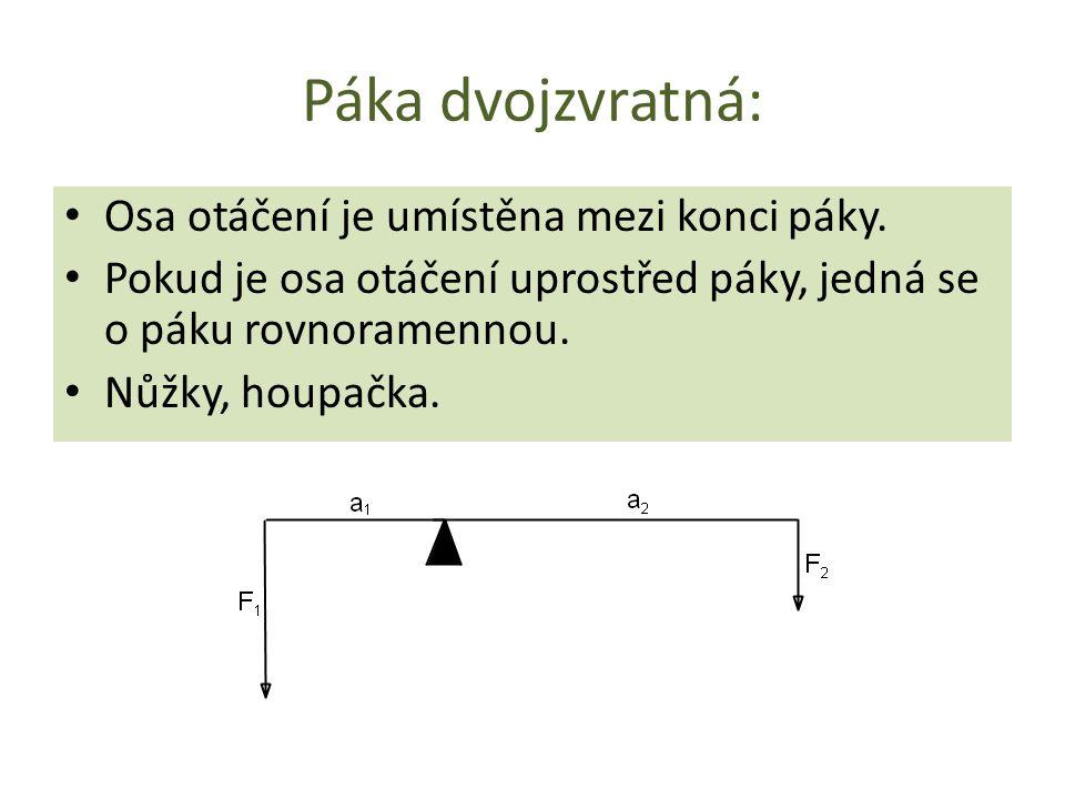 Páka dvojzvratná: Osa otáčení je umístěna mezi konci páky. Pokud je osa otáčení uprostřed páky, jedná se o páku rovnoramennou. Nůžky, houpačka.