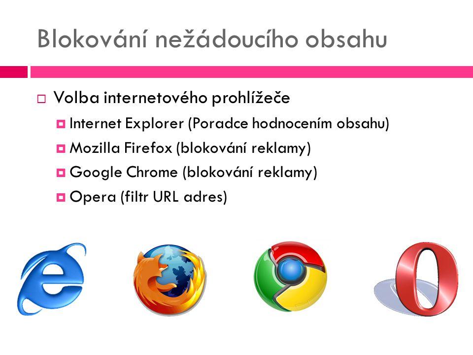 Blokování nežádoucího obsahu  Volba internetového prohlížeče  Internet Explorer (Poradce hodnocením obsahu)  Mozilla Firefox (blokování reklamy) 