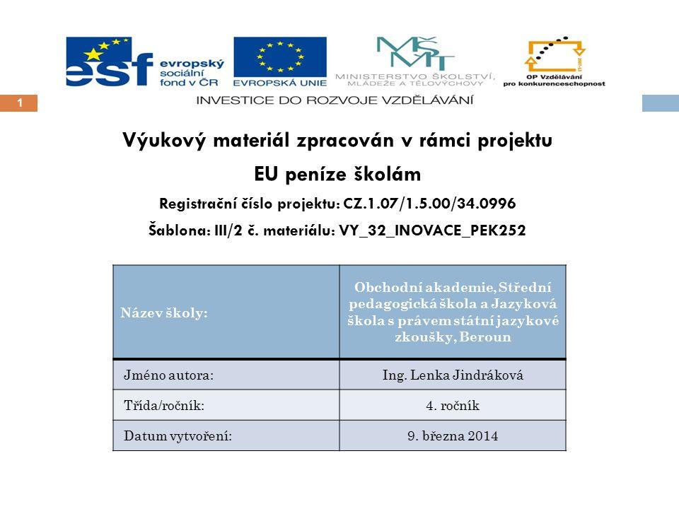 1 Výukový materiál zpracován v rámci projektu EU peníze školám Registrační číslo projektu: CZ.1.07/1.5.00/34.0996 Šablona: III/2 č. materiálu: VY_32_I
