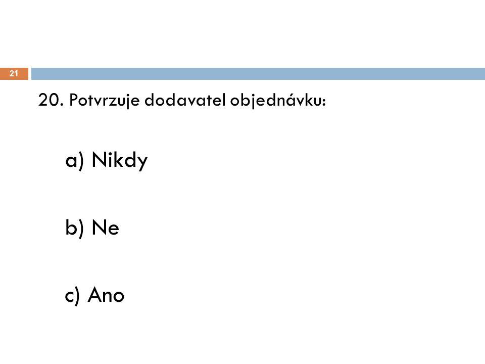 21 20. Potvrzuje dodavatel objednávku: a) Nikdy b) Ne c) Ano