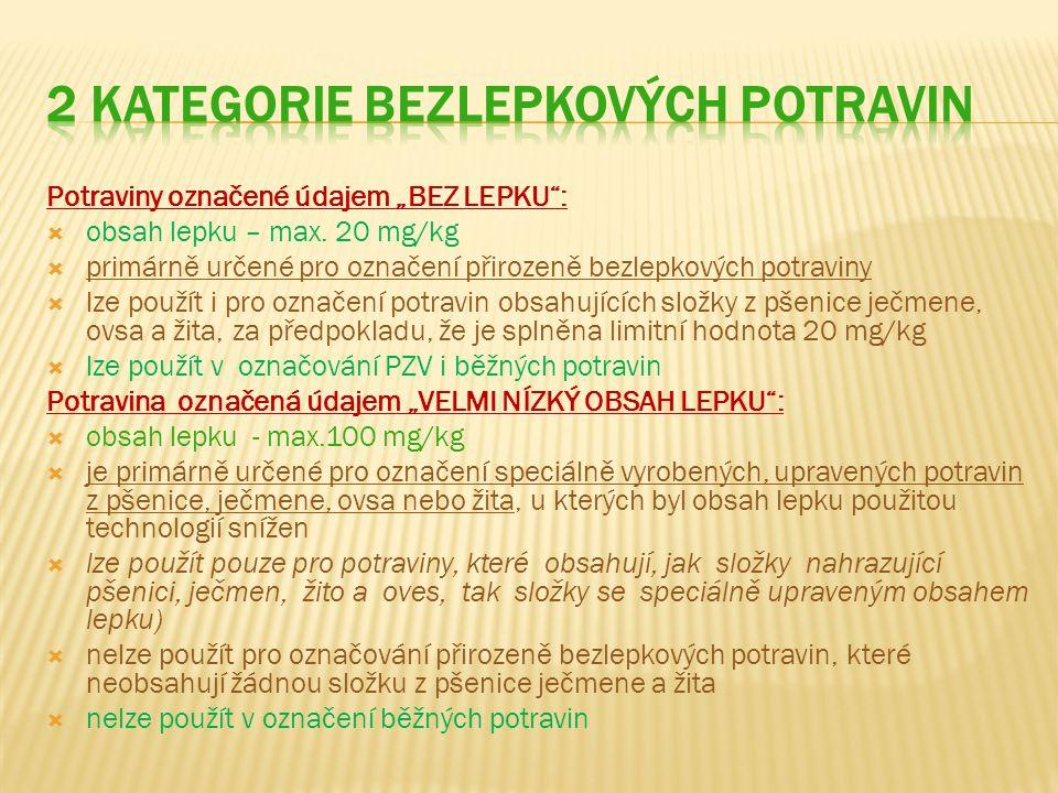 """Potraviny označené údajem """"BEZ LEPKU :  obsah lepku – max."""