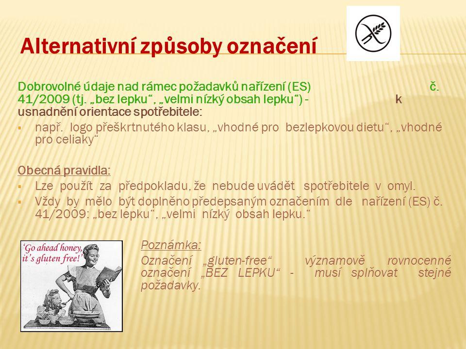 Alternativní způsoby označení Dobrovolné údaje nad rámec požadavků nařízení (ES) č.