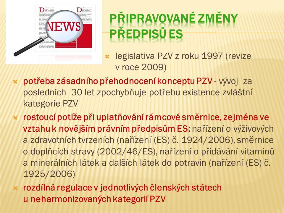  legislativa PZV z roku 1997 (revize v roce 2009)  potřeba zásadního přehodnocení konceptu PZV - vývoj za posledních 30 let zpochybňuje potřebu existence zvláštní kategorie PZV  rostoucí potíže při uplatňování rámcové směrnice, zejména ve vztahu k novějším právním předpisům ES: nařízení o výživových a zdravotních tvrzeních (nařízení (ES) č.