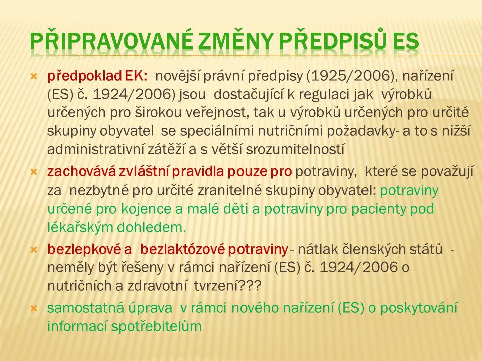  předpoklad EK: novější právní předpisy (1925/2006), nařízení (ES) č.