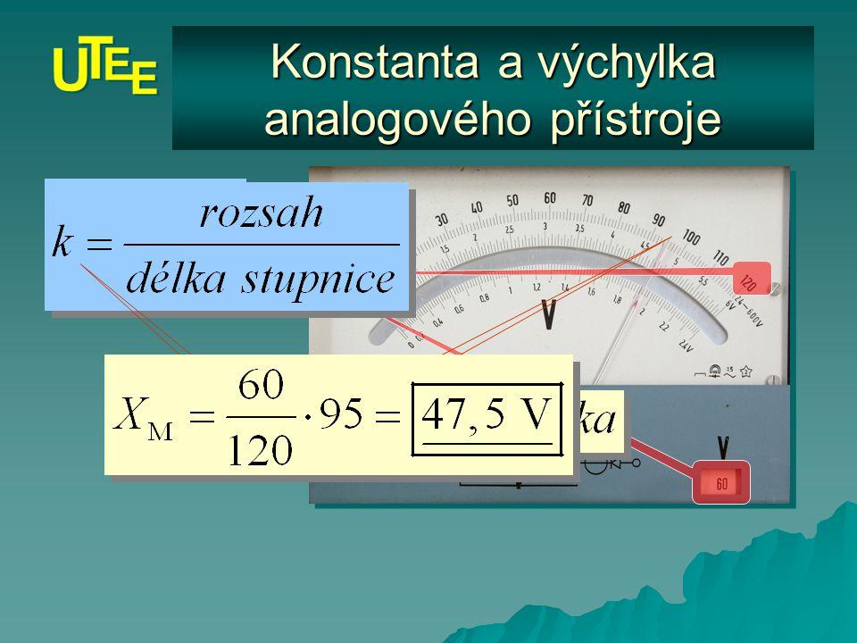 Konstanta a výchylka analogového přístroje Měřená veličina Značka výrobce Výrobní číslo Rozsah stupnice Značka soustavy Třída přesnosti