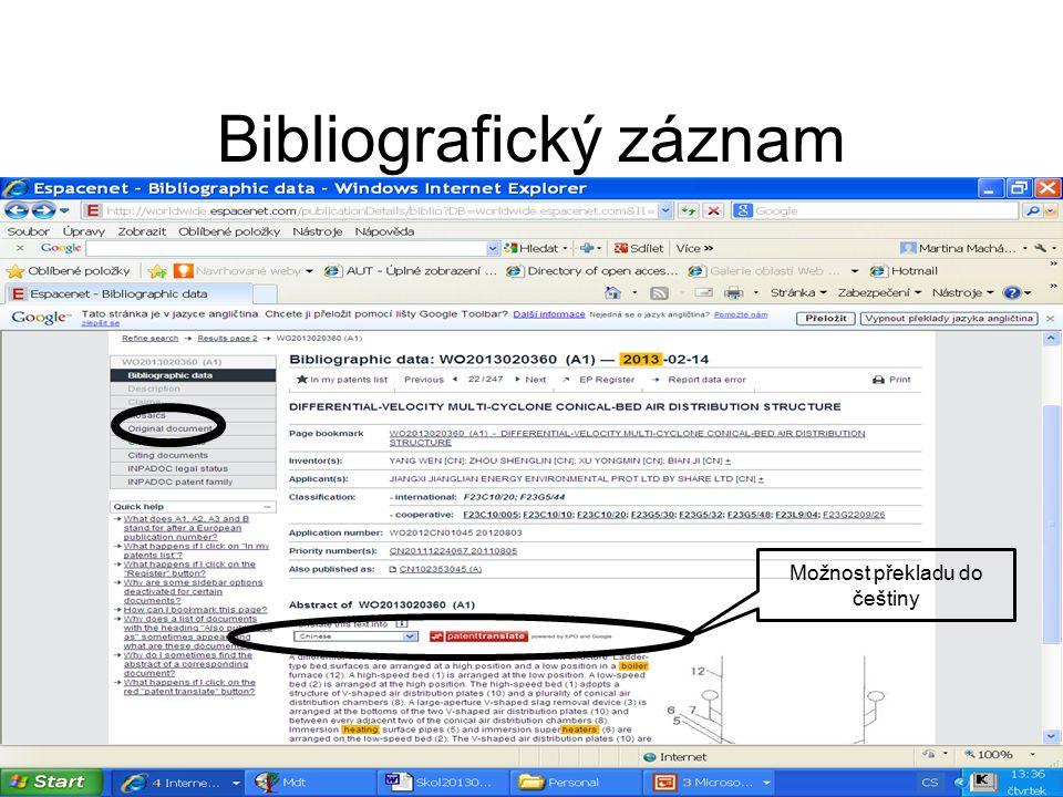 Bibliografický záznam Možnost překladu do češtiny