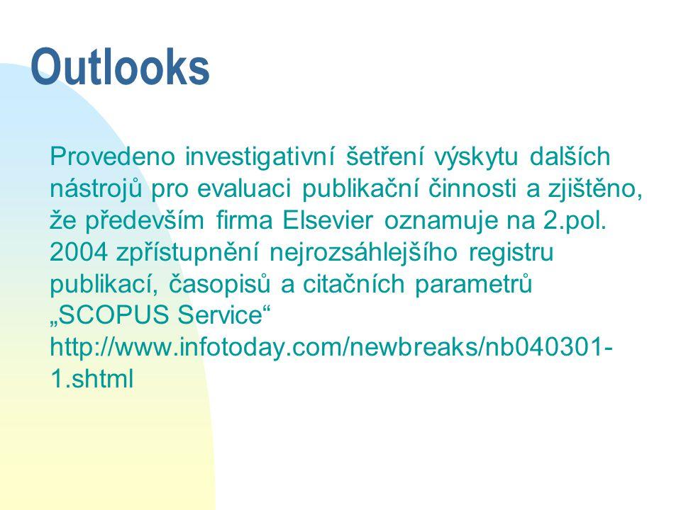 Outlooks Provedeno investigativní šetření výskytu dalších nástrojů pro evaluaci publikační činnosti a zjištěno, že především firma Elsevier oznamuje na 2.pol.