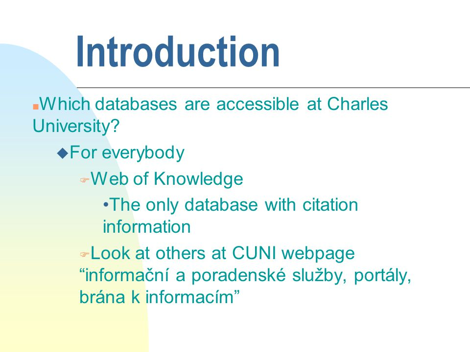 Introduction u For libraries a lot of others, for example F EconLit