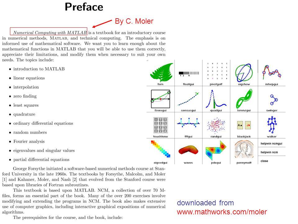 downloaded from www.mathworks.com/moler By C. Moler