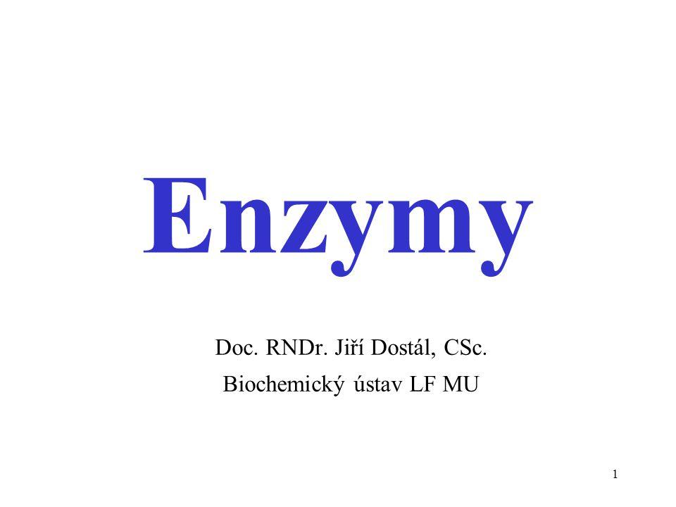 1 Enzymy Doc. RNDr. Jiří Dostál, CSc. Biochemický ústav LF MU