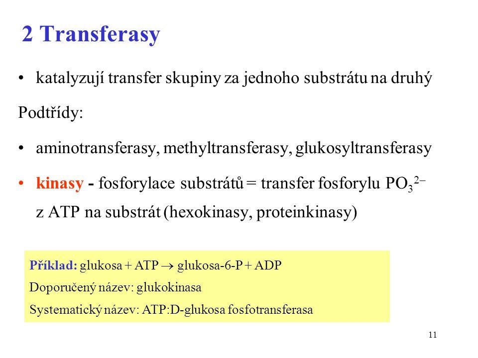 11 2 Transferasy katalyzují transfer skupiny za jednoho substrátu na druhý Podtřídy: aminotransferasy, methyltransferasy, glukosyltransferasy kinasy - fosforylace substrátů = transfer fosforylu PO 3 2– z ATP na substrát (hexokinasy, proteinkinasy) Příklad: glukosa + ATP  glukosa-6-P + ADP Doporučený název: glukokinasa Systematický název: ATP:D-glukosa fosfotransferasa