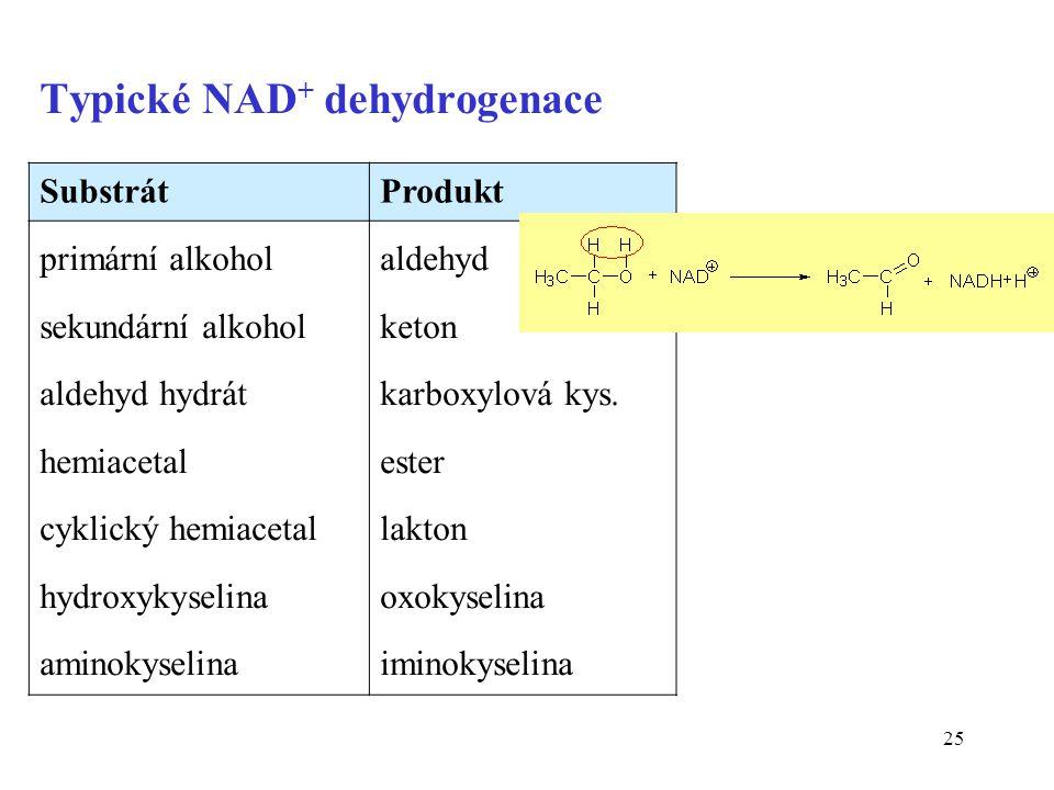 25 Typické NAD + dehydrogenace SubstrátProdukt primární alkohol sekundární alkohol aldehyd hydrát hemiacetal cyklický hemiacetal hydroxykyselina aminokyselina aldehyd keton karboxylová kys.