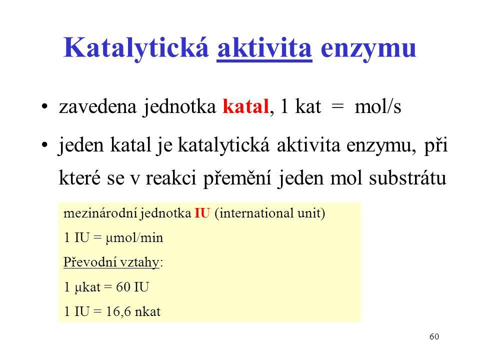 60 Katalytická aktivita enzymu zavedena jednotka katal, 1 kat = mol/s jeden katal je katalytická aktivita enzymu, při které se v reakci přemění jeden mol substrátu za sekundu mezinárodní jednotka IU (international unit) 1 IU = μmol/min Převodní vztahy: 1 μkat = 60 IU 1 IU = 16,6 nkat