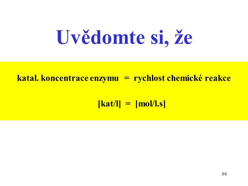 66 Uvědomte si, že katal. koncentrace enzymu = rychlost chemické reakce [kat/l] = [mol/l.s]