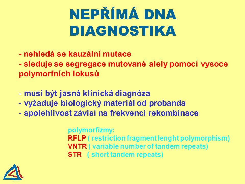 NEPŘÍMÁ DNA DIAGNOSTIKA - nehledá se kauzální mutace - sleduje se segregace mutované alely pomocí vysoce polymorfních lokusů - musí být jasná klinická